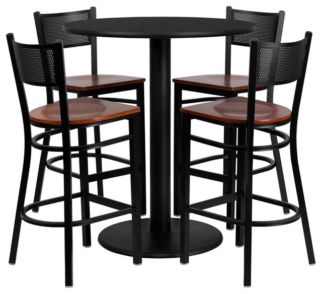 set with 4 grid bar stools cherry wood seat contemporary dining sets
