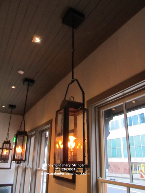 Sheryl 39 S Durham Gas Lanterns Hanging By Steel Yokes In Restaurant Conte