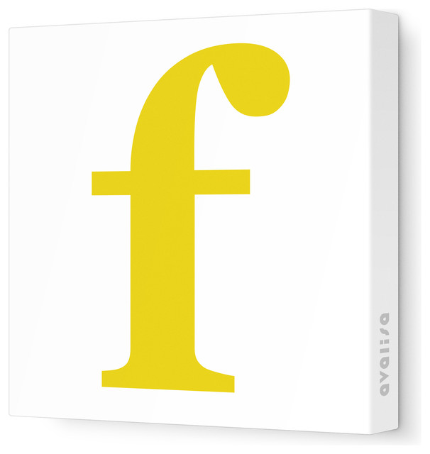 "Letter - Lower Case 'f' Stretched Wall Art, 12"" x 12"", Dark Yellow contemporary-artwork"