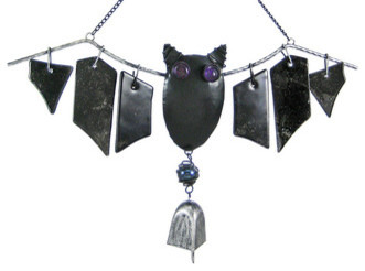 Cool Metal And Glass Bat Windchimes Halloween contemporary-garden-statues-and-yard-art