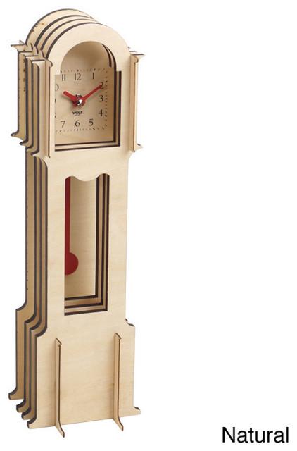 Wooden Jigsaw Mini Grandfather Clock - Contemporary - Clocks - by Overstock.com