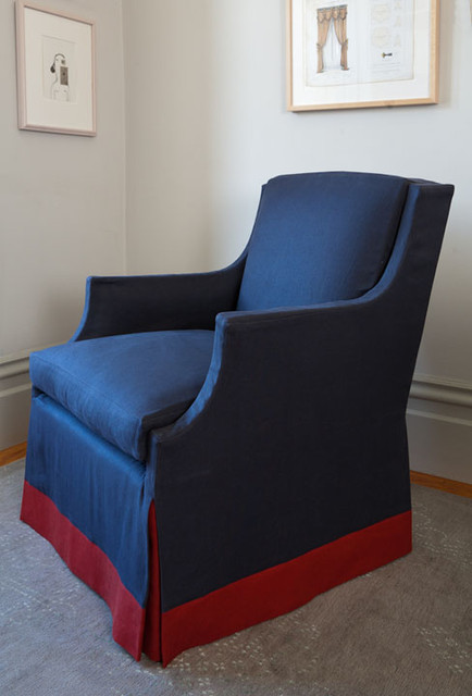 Custom chair slipcover in navy and red colors contemporary upholstery fabric