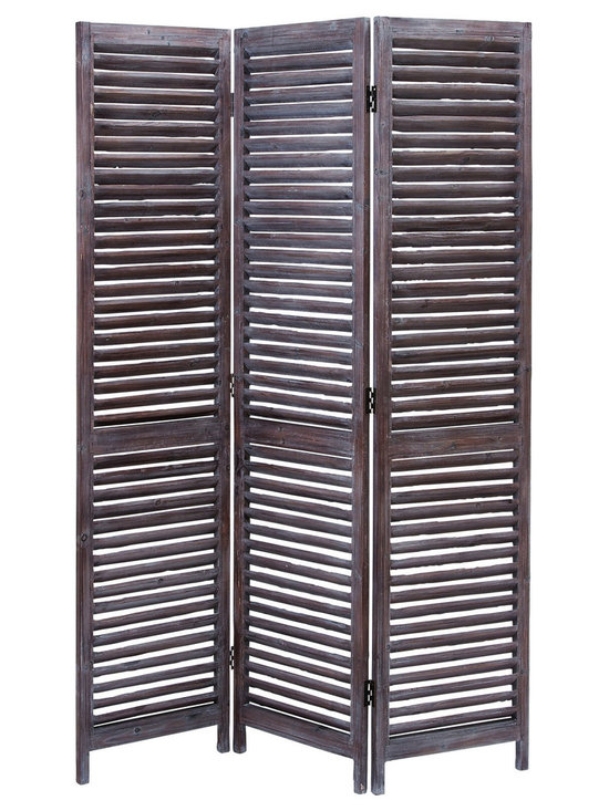 None - Three Panel Wood Screen - This Wood Screen has three panel screens made of well seasoned quality wood. Divided into two portions,each panel is handmade of wooden strips. Color: Burgundy- brown. Moisture resistant and stress resistant Varnished to make it long lasting.