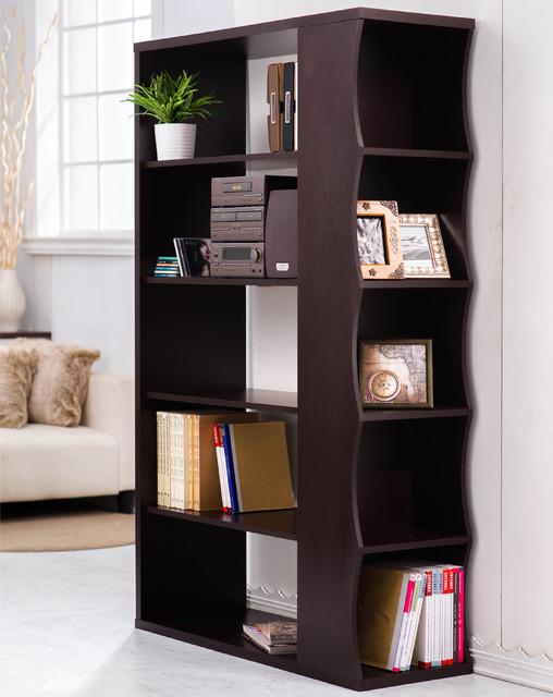 Furniture of America Sydney Modern Walnut Bookshelf/Room Divider ...