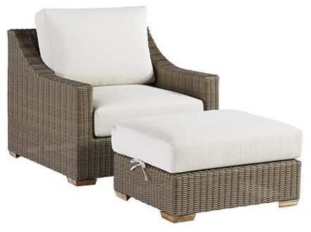 Sutton lounge chair ottoman traditional outdoor for Ballard designs chaise lounge