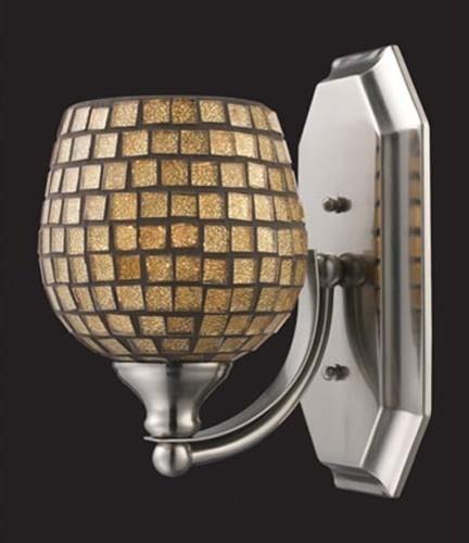 Gold Mosaic Polished Chrome One Light Bath Fixture Contemporary Bathroom Vanity Lighting