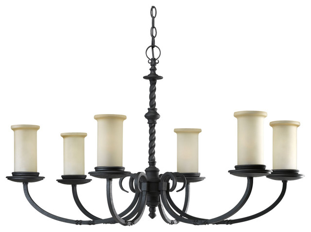 Progress Lighting P4588-80 Santiago 6-Light Forged Black Chandelier With Jasmine traditional-chandeliers