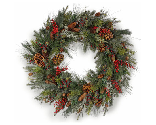 Winward Designs - Piney Woods Wreath 36 inch - Your holiday guests will feel warmly welcomed when they see this lovely wreath hanging on your door. If you want a wreath that reminds you of adventures cutting down the family Christmas tree, you will appreciate this one.