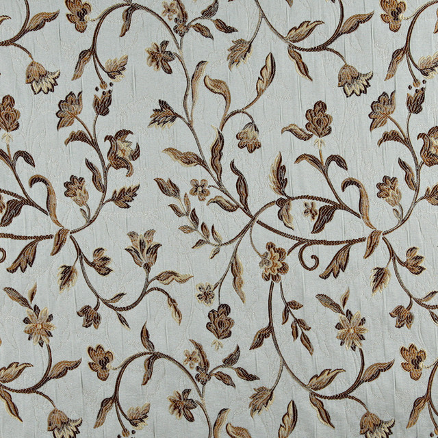 Light Blue Gold Brown And Ivory Floral Brocade Upholstery
