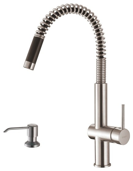 Ruvati RVF1218K1ST Modern Pullout Kitchen Faucet with Soap Dispenser-Stainless S modern-bathroom-faucets-and-showerheads