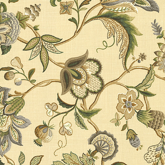 Tan Jacobean Floral Linen Fabric traditional-upholstery-fabric