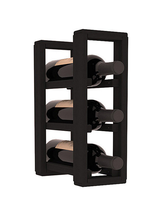 Wine Racks America® - 3 Bottle Counter Top/Pantry Wine Rack in Redwood, Black Stain - These counter top wine racks are ideal for any pantry or kitchen setting.  These wine racks are also great for maximizing odd-sized/unused storage space.  They are available in furniture grade Ponderosa Pine, or Premium Redwood along with optional 6 stains and satin finish.  With 1-10 columns available, these racks will accommodate most any space!!