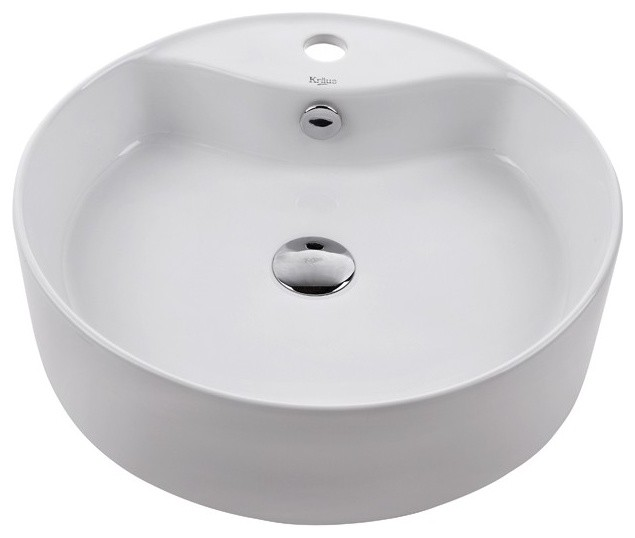 Kraus KCV-142 White Round Ceramic Sink - Modern - Bathroom Sinks - new ...