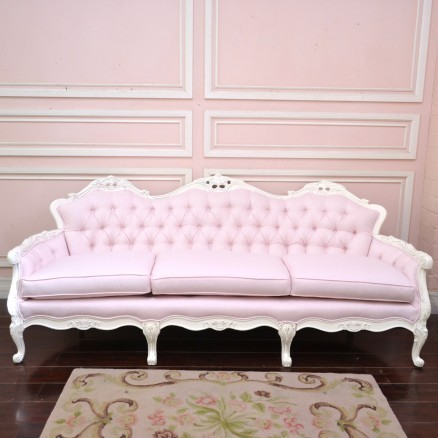 Light Pink Linen Tufted Vintage Style Sofa Traditional Sofas By The Bella Cottage