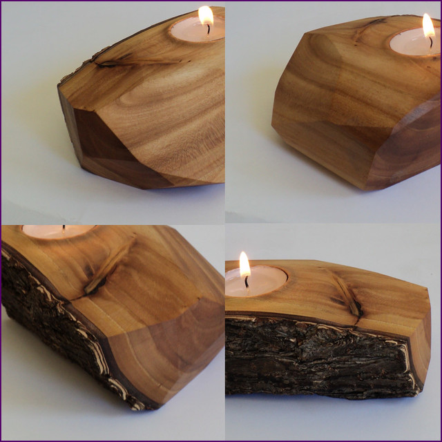 Elm wood live edge tea light candle holder eclectic Wood candle holders