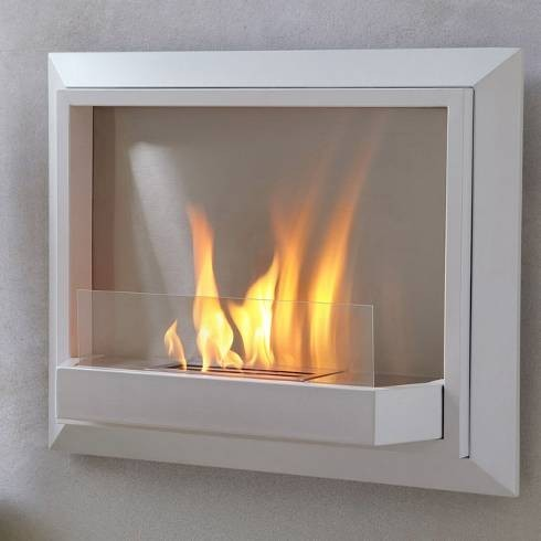Real flame white envision wall ventless fireplace modern for Ventless fireplace modern