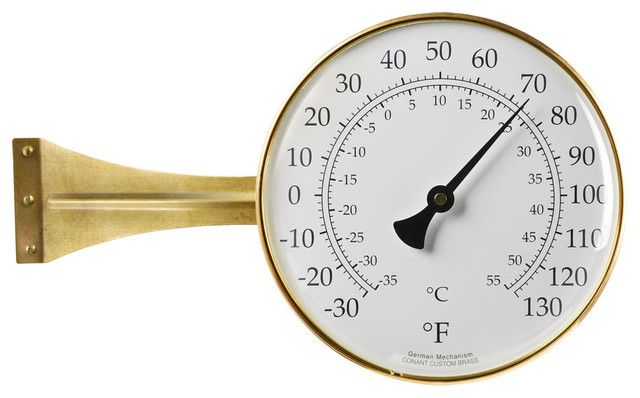 large dial side mount outdoor thermometer contemporary decorative thermometers by rejuvenation. Black Bedroom Furniture Sets. Home Design Ideas