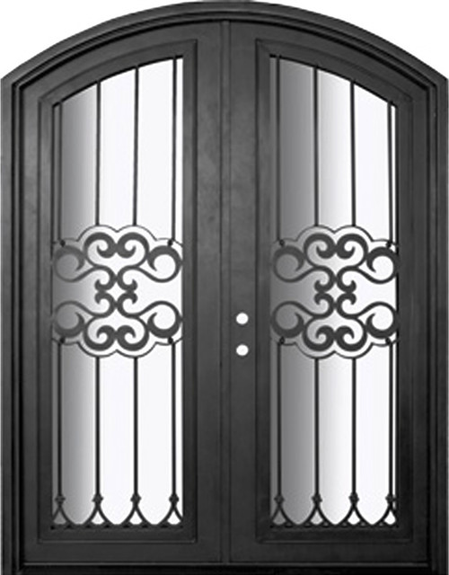 Tivoli 72x96 arch top wrought iron double door 14 gauge for 14 gauge steel door