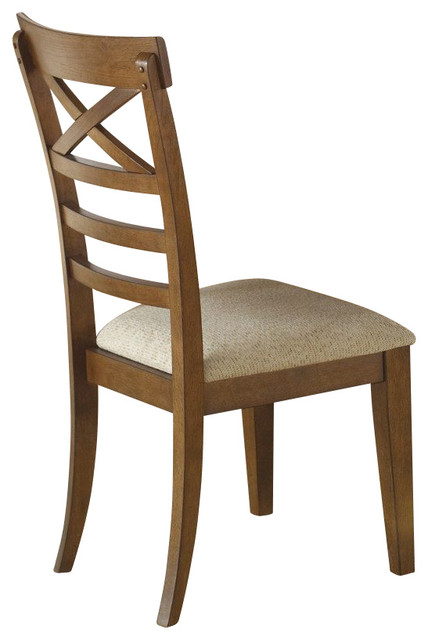 Liberty Furniture Hearthstone Upholstered Side Chair in Oak, Medium Wood (Set of traditional-dining-chairs