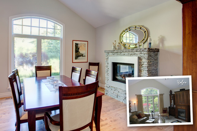 Renovations - before & after transitional-dining-room