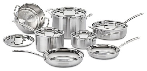Cuisinart MultiClad Pro Stainless Steel 12-Piece Cookware Set contemporary-cookware-sets
