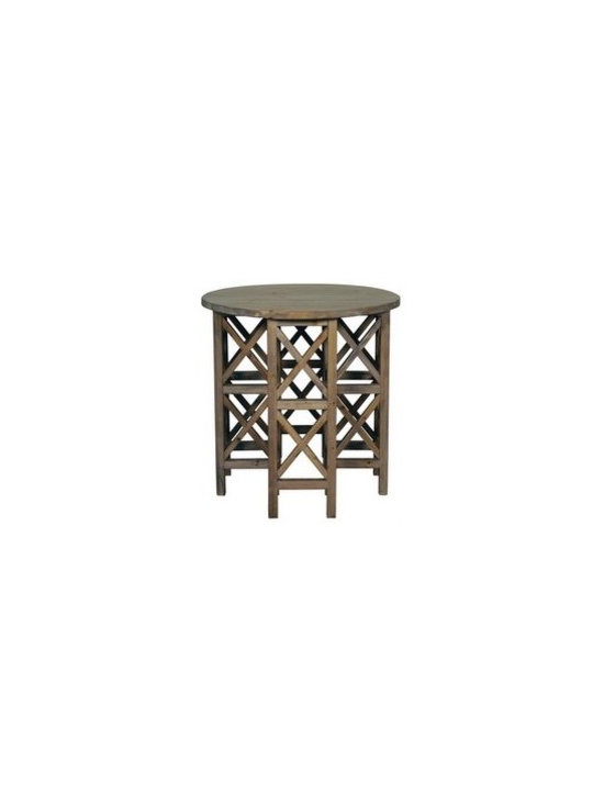 Unique Furniture - Side Tables that WOW! - Old Wood Geometric Side Table -- With geometric angles, this wood side table is both architectural and aesthetic. The round top against the angled base gives the table an impression of harmonizing rustic geometry.