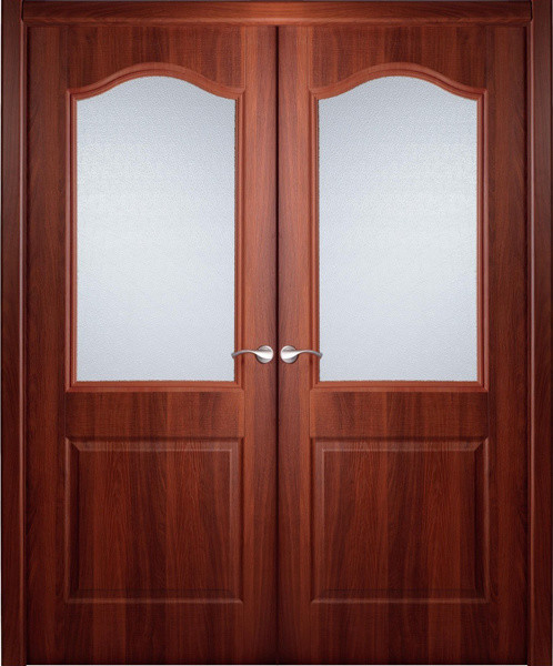 Interior Double Door Italian Nutwood with Frosted Glass contemporary-interior-doors