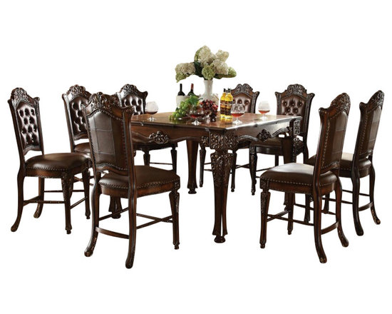 """Acme - 7-Piece Vendome Ii Collection Cherry Finish Carving Counter Height Dining Set - 7-Piece Vendome II collection cherry finish wood detailed carving counter height dining table set with tufted back chairs. This set includes the table and 6 side chairs. Table measures 54"""" x 54"""" x 36"""" H. Side chairs measure 24"""" H to the seat. Additional chairs also available separately. Some assembly required."""
