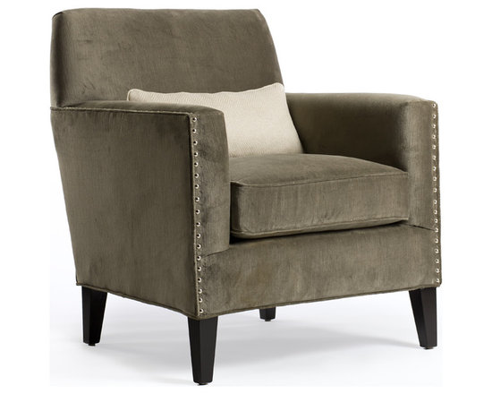 "Jeffrey Chair - With its masculine shape and square lines, Jeffery features well-tailored arms and a carefully tapered back profile. Don't be fooled – this chair is comfortable! Its fitted back and full seat cushions offer excellent support whether used as the ""TV chair"" or for entertaining. Its substantial look can handle large rooms and other big pieces of furniture around it. The chair, shown in pewter velvet includes a lumbar pillow just incase you need it for extra support!"