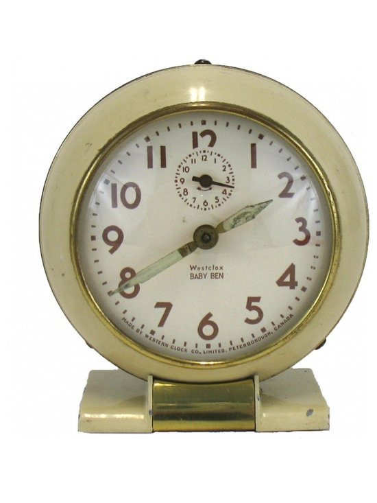 Westclox Baby Ben Clock Model 61-R - This cream colored baby ben is  style 5 model 61 V produced 1939-1949.  Good cosmetic condition, a little patina on brass trim.