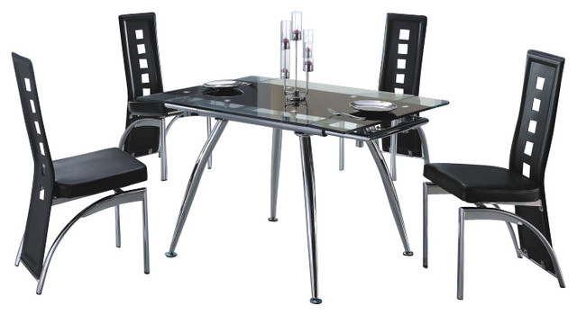 220DT & 104CH Extendable Black Glass Table & Vinyl Chairs 5 Piece Dining Set modern-dining-sets