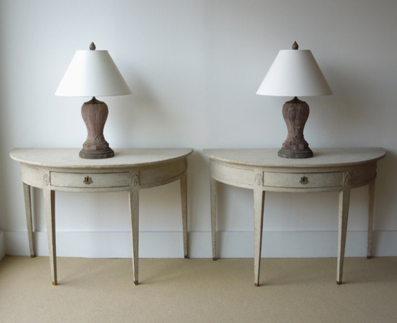 Swedish Empire Painted Demilune Console Tables traditional-side-tables-and-end-tables