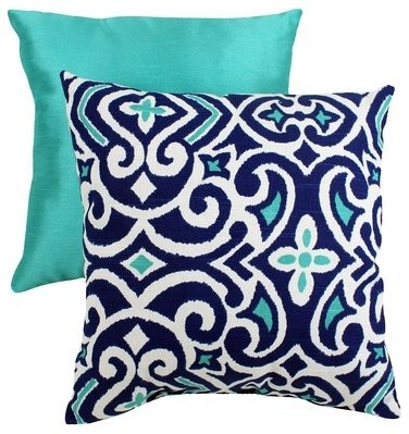 Decorative Damask Square Toss Pillow Blue And White