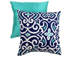Decorative Damask Square Toss Pillow, Blue And White eclectic-pillows