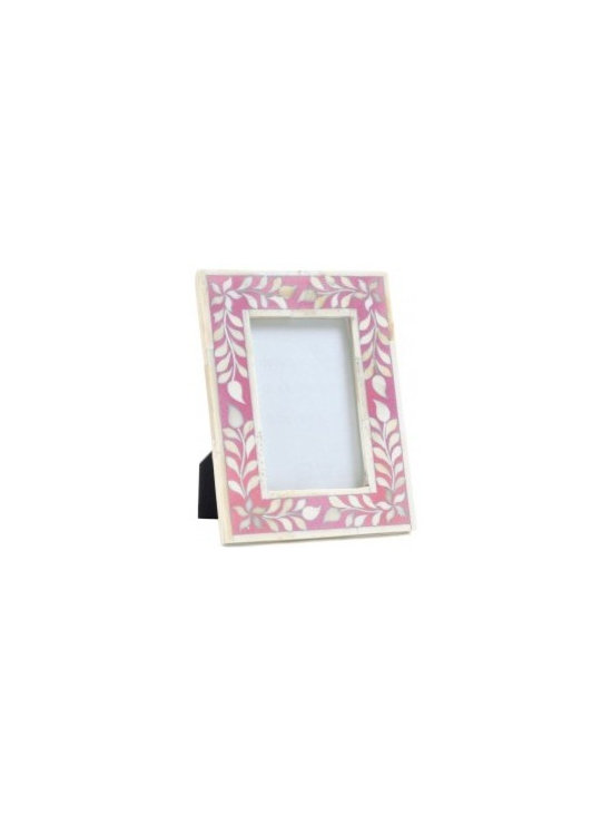 Floral Bone Inlay Picture Frame, Pink/White -