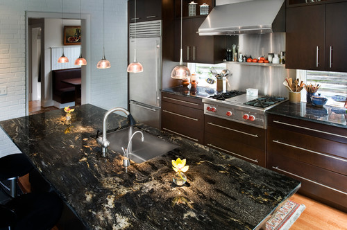 Cosmic Black Granite Countertop Design Ideas