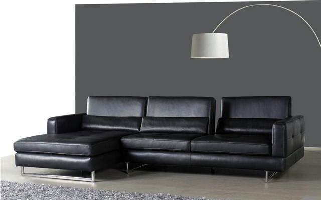 Cobalt slate grey leather sectional sofa for Slate grey sectional sofa