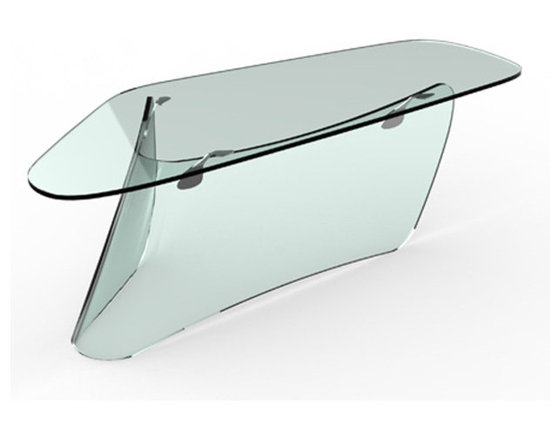Graph Glass Desk - Home office desk, portable service or reception desk.