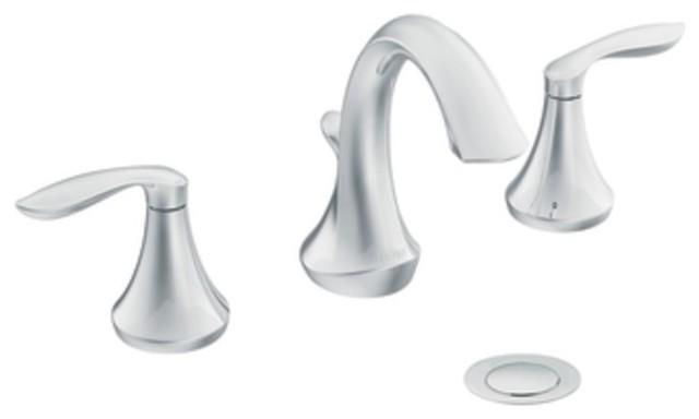 Moen T6420 Eva Two Handle Widespread Bathroom Sink Faucet Trim in Chrome traditional-bathroom-sink-faucets