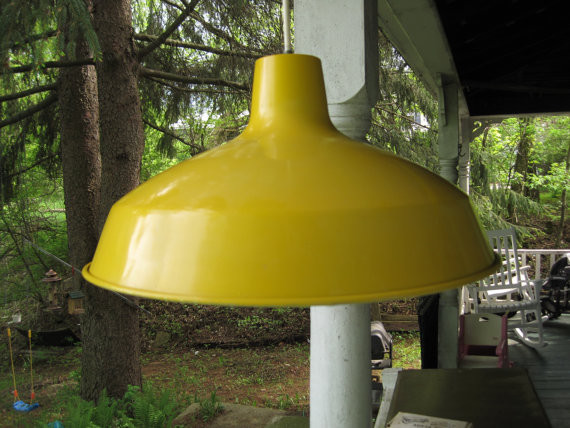 Vintage Retro Yellow Industrial Metal Ceiling by corrnucopia eclectic pendant lighting