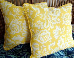 Lemon Yellow Outdoor Pillows traditional-outdoor-pillows