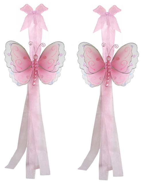 Butterfly Tie Backs Pink Multi-Layered Butterflies Tieback Pair Set Decorations window-treatment-accessories