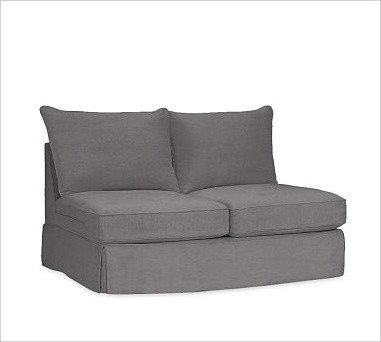 PB Comfort Slipcovered Armless Loveseat, Knife-Edge Cushion, Down-Blend Wrap Cus traditional-decorative-pillows