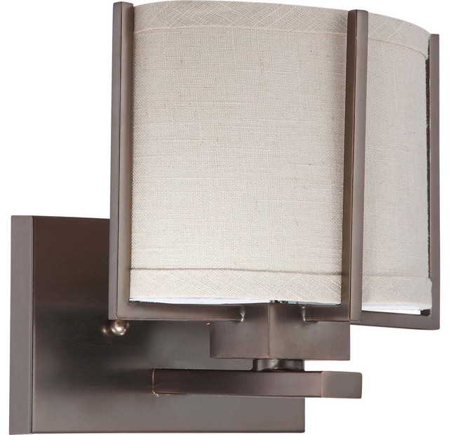 Vanity Light Fabric Shade : Nuvo Lighting 60-4451 Portia 1-Light Vanity with Khaki Fabric Shade - Transitional - Bathroom ...