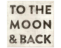 To The Moon and Back' Reclaimed Wood Vintage Wall Art - Large transitional-prints-and-posters