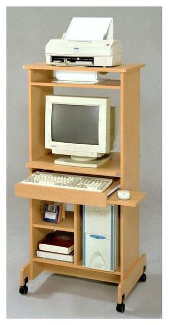 small home office computer desk with hutch natural finish