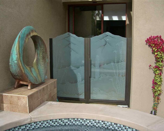 """Ocotillo & Saguaro Glass Gate - Glass gates by Sans Soucie will create a grand entrance!    Available any shape or size .. as frameless, all glass gates or glass inserts installed into a metal frame made by others, Sans Soucie creates sandblast frosted, etched and carved designs for gate glass, in any privacy level needed, as well as selling machine textured glass.  Metal gate frames can be purchased through Sans Soucie, as we work with a number of custom metal fabricators.   Sans Soucie designs are sandblasted different ways, creating different effects for different levels of privacy and price.  The """"same design, done different"""" creates the privacy you need in a wide range of price, that will vary by design complexity and type of effect:   Specialty Glass and Frosted Glass.  Click here for descriptions and more info. about our various effects."""