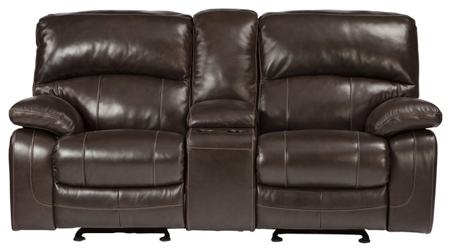 Damacio Glider Recliner Power Loveseat With Console In