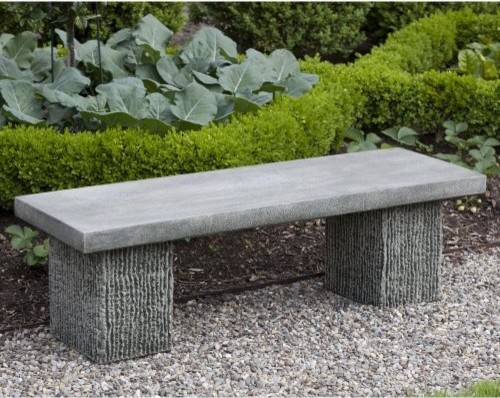 Campania International Reef Point Cast Stone Backless Garden Bench Be 113 Al Contemporary
