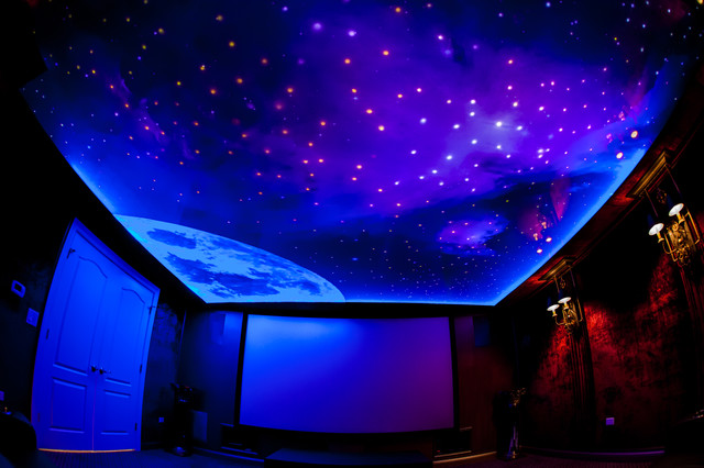 Home theater night sky ceiling project modern chicago - Night sky painting on ceiling ...